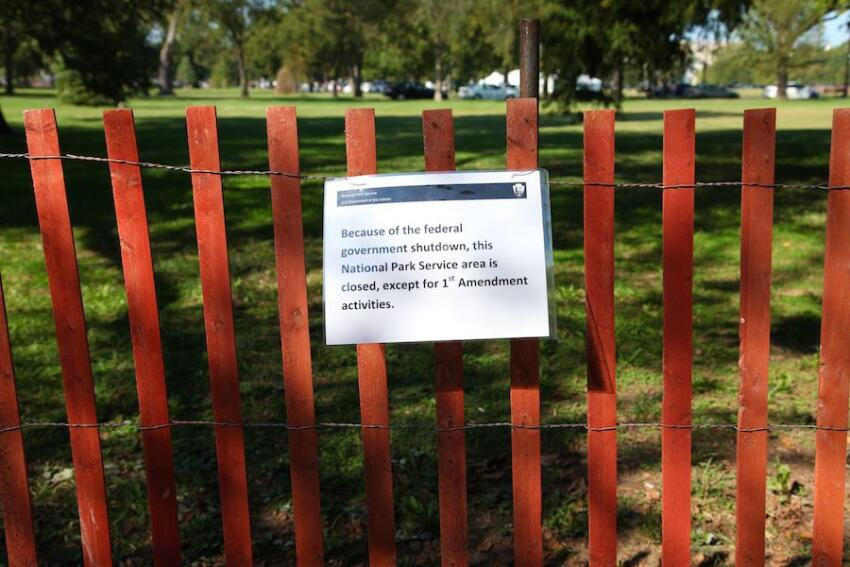 Signs were posted on national monuments and parks, notifying the public of closures.