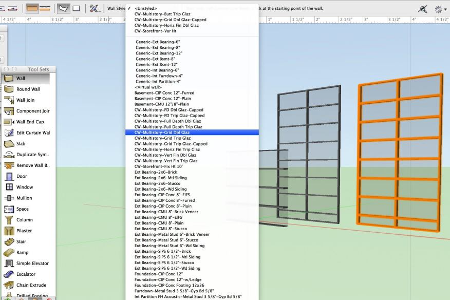 Curtainwalls can be placed in the model using the Wall tool and selecting one of the preset CW wall templates or defining a custom assembly.