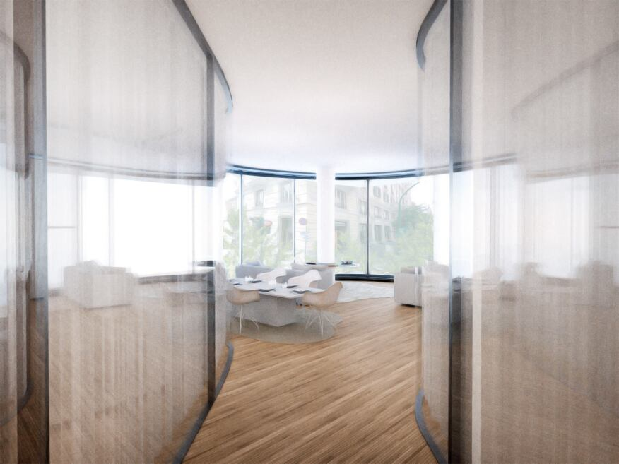 A rendering of the interior views from the unit's entrance.