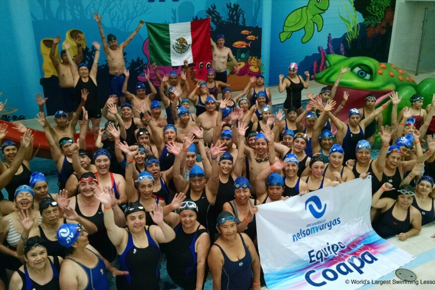 Swimmers at Mexico City's Acuatica Nelson Vargas participate in the 2015 World's Largest Swimming Lesson.