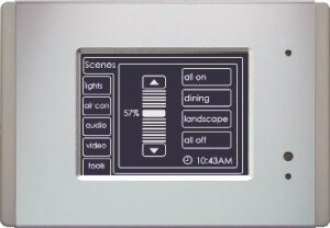 Manufacturer Photo:Schneider Electric. The new monochrome Square D Clipsal Mark II Touch Screen holds enough memory to store up to 100 screens to  facilitate multipoint switching and dimming, master on/off switching, schedules and scenes with multiple loads.