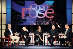 Pritzker Prize winners Renzo Piano, Frank Gehry, Zaha Hadid, and Jean Nouvel (left to right) consider a question from host Charlie Rose during a taping of The Charlie Rose Show, held in Washington, D.C., in June 2008.