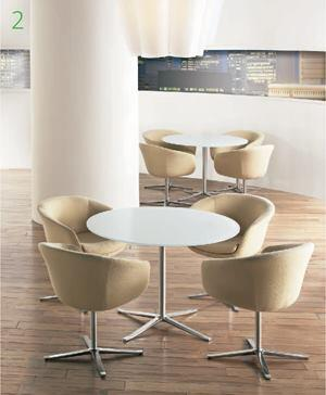 Bob tables    Brayton Internationalwww.brayton.com  Base is die-cast aluminum with matte polished finish    Two base diameter sizes are available: 32 inches and 25 inches    Adjustable black polyethylene glides for carpeted floors are standard    Rounded glass tops are ½ inch thick    Elliptical glass tops are 3/4 inch thick    Eight glass top options    Designed by Walter Knoll
