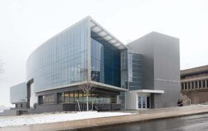 The Newhouse III building at Syracuse University houses the school of communications and its state-of-the-art facilities for information gathering, editing, and production.