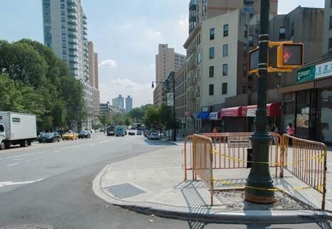 An 18-foot curb extension at 110th street and Columbus Avenue decreases the distance pedestrians have to walk in the street between crosswalks