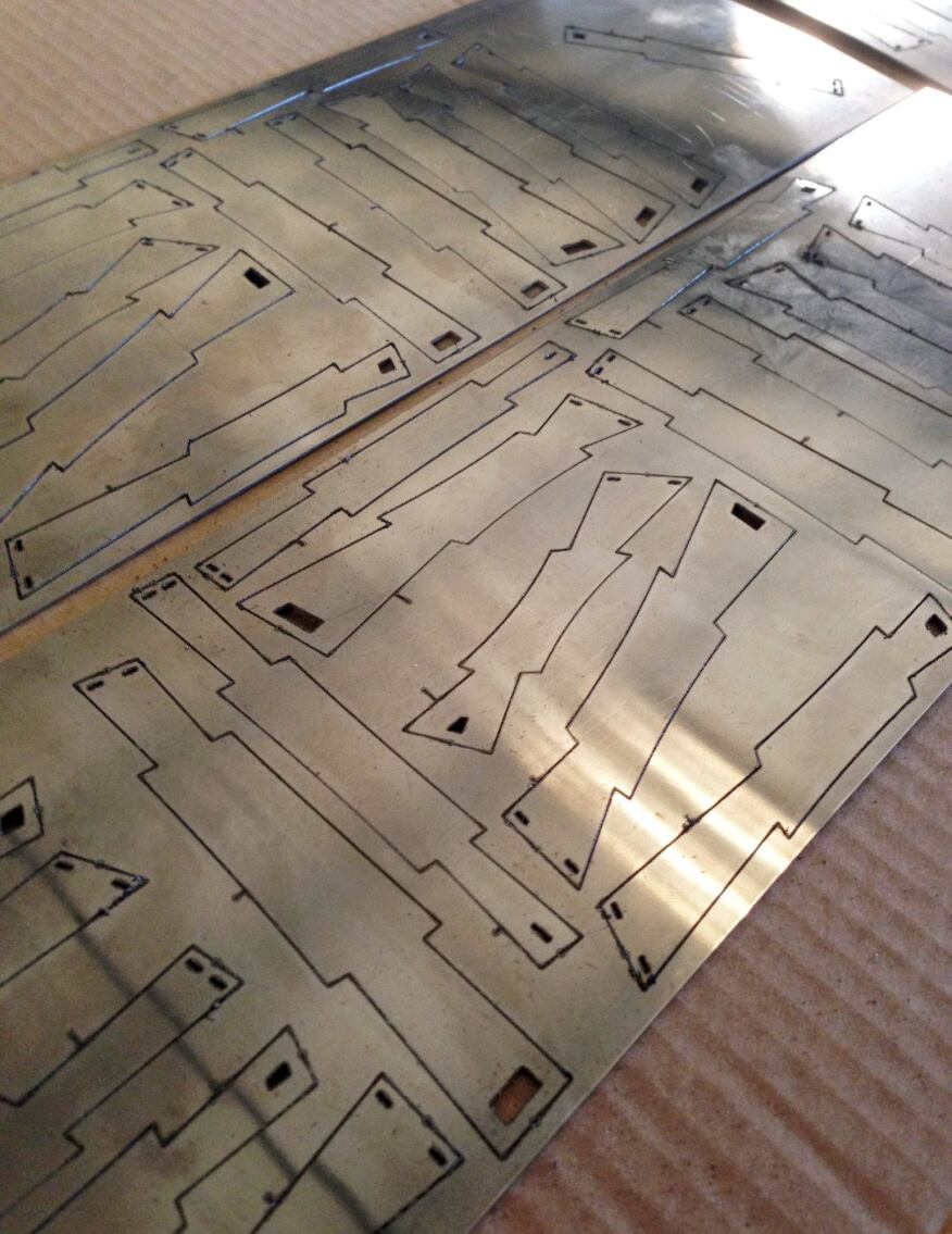 The thermobimetal pieces were lasercut and etched with a number for sorting and installation purposes.