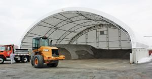 When selecting a salt storage structure, consider the factors most important to your operation. Should it be a permanent structure? How weather-resistant does it need to be? What types of equipment will need access? By planning ahead, municipalities can safely and cost-effectively contain salt supplies. Photo: Clearspan Fabric Structures