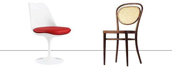 Saarinen's Tulip Chair and Thonet's Nr. 15 bentwood chair with a woven-cane back.