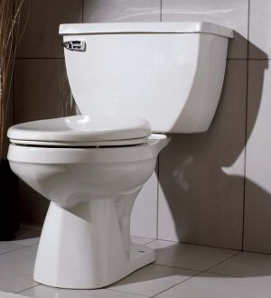 Ultra Flush 1.6 GPF toilet  Gerber  gerberonline.com  Two-piece, pressure-assist toilet    Uses 1.6 gallons per flush of water    Pressurized flushing    Siphon-jet action    33-inch trapway    Available in white, biscuit, almond, and bone    17 inches high    Elongated bowl