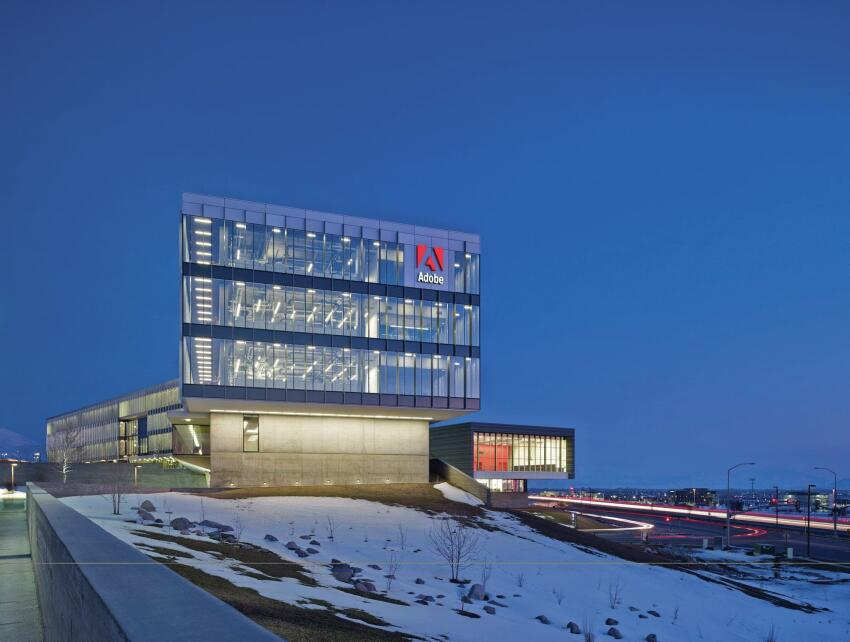 The new Adobe campus comprises three buildings on a 38-acre site.