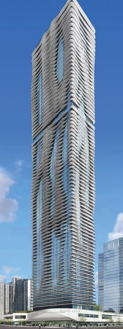 Rising 82 stories above the junction of the Chicago River and Lake Michigan, the Aqua is anything but a square box. Its uniquely shaped balconies produce a striated look reminiscent of limestone outcroppings found throughout the Great Lakes region.