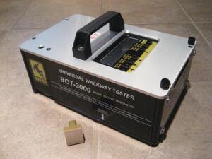 The BOT-3000 digital tribometer by Regan Scientific Instruments is an NFSI0-approved testing device to determine surface friction.