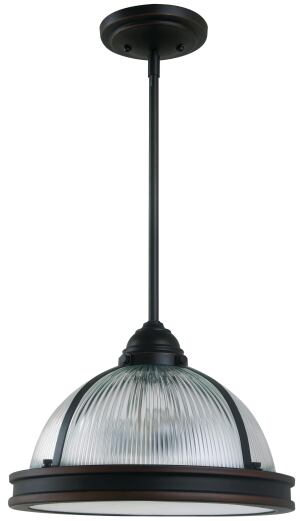 Sea Gull Lighting's new-for-2013 Pratt Street Collection offers industrial-style pendants in two versions: prismatic glass (shown) or metal.