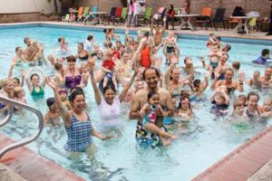 THAT'S THE SPIRIT Blue Buoy Swim School in Tustin, Calif., attracted an enthusiastic group when it hosted a World's Largest Swimming Lesson event last year. California ranked third in the top four participating states for 2012.