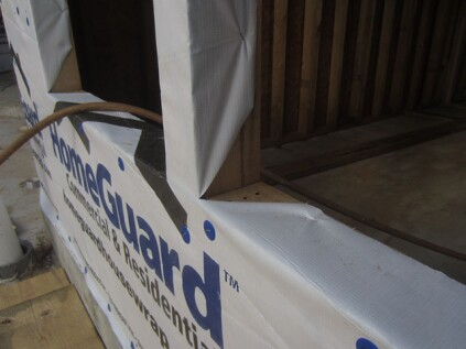 "Housewrap. Most window-flashing instructions tell you to cut the housewrap in an inverted ""Y"" and turn the housewrap in along the sill and jambs. In doing so, the housewrap serves as a primary jamb flashing. In my opinion, this is wrong. If peel-and-stick is not adhered directly to the rough openings' wood surfaces, water has the potential to travel between the framing and the housewrap. The whole point of using a peel-and-stick flashing is to protect the innermost wood components."