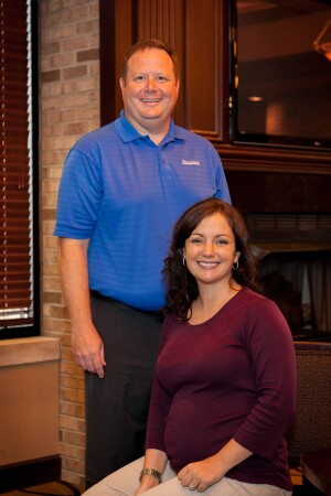 Mike Leckie-Ewing, vice president of organizational development, with human resources coordinator Kelly Sumey.