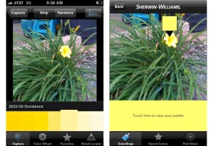 After loading a photo, users can touch different areas of the image to select specific colors. The Ben app (left) shows a range of colors including the slected color, while the ColorSnap app highlights the one specific color chosen.