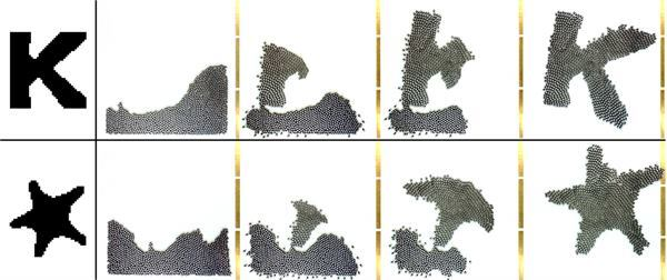 The robots, called Kilobots, use information derived from a 2D image to form a unified shape.