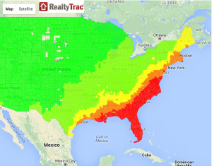 Hurricane prone, RealtyTrac's heat-map of at-risk real estate, due to hurricanes.