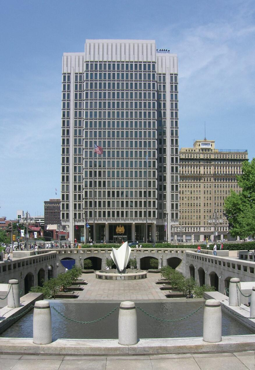 Philadelphia's Municipal Services Building, designed by Vincent Kling, won a First Award in 1962.