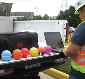 Virginia DOT is using tiny computer chips inside buried plastic spheres to store the location, ownership, attributes, placement date, orientation, depth, and assets buried nearby with public and private utilities via a master geodatabase. Photo: 3M