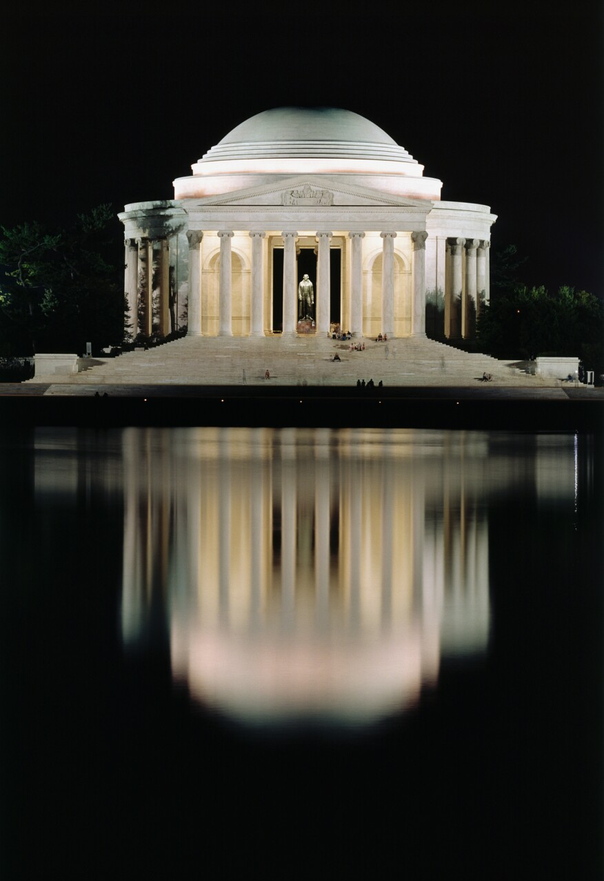 The Jefferson Memorial illuminated in 2001.