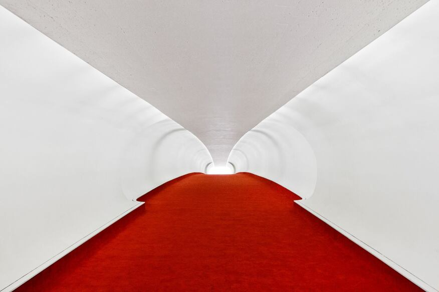 The red-carpeted TWA terminal tunnel was featured in the film Catch Me If You Can.