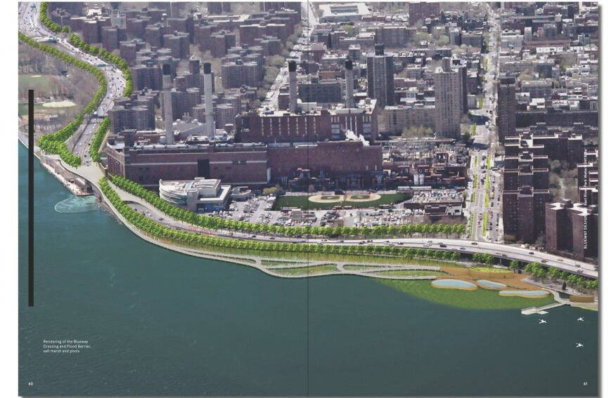 Aerial view showing added greenspace that will help absorb sotrmwater surge.