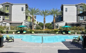 A poolside view of the Spectrum Apartments, recently acquired by the Bascom Group.