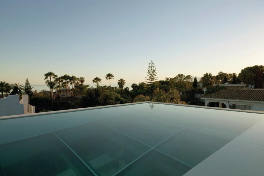 Rooftop pool at dusk