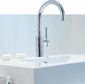 Tara Logic    Dornbrachtwww.dornbracht.com  Designed by Sieger Design    Two finishes available: polished chrome and platinum matt    Series includes bath and basin mixers, a lotion dispenser, thermostats, hand shower sets, body sprays, showerheads, bath grips, towel bars, and other accessories