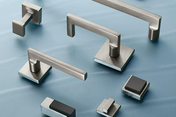 This collection of decorative door hardware from Assa Abloy's The Good Design Studio has all the right angles suited for modern commercial interiors. Square includes levers, pulls, stops, and hinges featuring the eponymous shape compiled from collections by Assa Abloy Group brands Corbin Russwin, McKinney, Rockwood, and Sargent. Complementing square coat hooks and floor and wall stops are also available. thegooddesignstudio.com