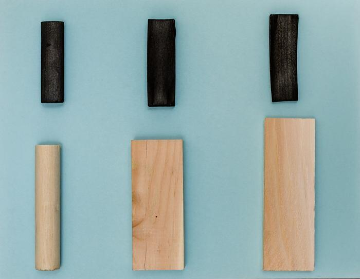 Examples of wood turned into biochar, a surrogate material for costlysupercapacitors.