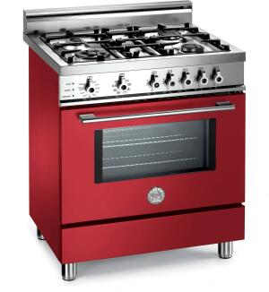 Italian cooking products manufacturer Bertazzoni has expanded its line to include this 30-inch dual-fuel range. The self-cleaning unit is outfitted with a true convection electric oven, four gas burners, eight cooking functions, 15,000-BTU burners, and cast iron grates. It's available in stainless steel, white, red, black, and burgundy. Bertazzoni SpA, 866.905.0010;  www.bertazzoni-italia.com