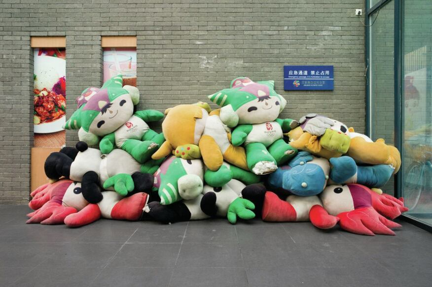 Beijing 2008  Olympic plush toys collected in a pile at Olympic Green Park in Beijing, site of the 2008 Summer Games.