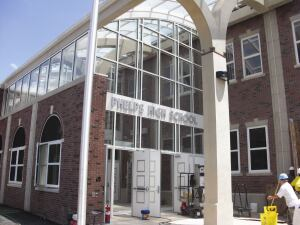 The entrance to Phelps Architecture, Construction & Engineering High School, photographed this summer as the renovated building neared completion.