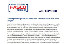 Finding Color Options to Coordinate Your Fasteners with Your Project