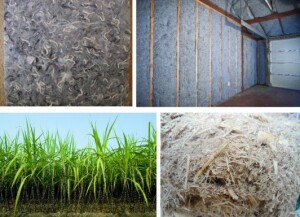 Top: Panel made of recycled cotton (left) and denim (right). Bottom: Sugarcane (left) and sugarcane bagasse (right).