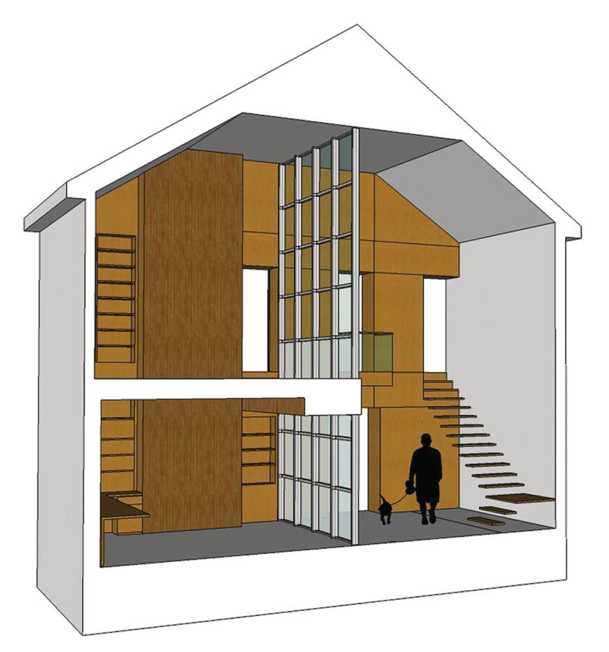 Make It a Double  This 3-D rendering shows how the double-sided bamboo-clad wall intersects the double-height storefront glass wall and two existing exterior walls.  Tread Lightly   The floating stair limits the stair volume and leaves the area open.