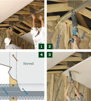 Cracking Up  1. Adjust X-Crack to the angle of the ceiling. 2. Install X-Crack using drywall screws, letting the strip fl oat over irregular framing members. 3. Install drywall, ensuring that the screws penetrate the X-Crack, but miss the trusses and joists. This allows the framing to move independently of the drywall joint. 4. Illustration of where screws should be placed in an X-Crack installation. Black screws fasten the product to the framing, blue screws secure the drywall, and orange screws are the last ones in the fi eld.
