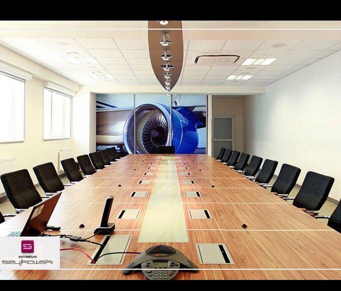 Video conference room in the factory jet engines for Office design video conferencing