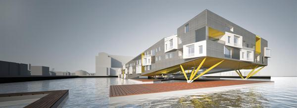 Floatyard comprises 86,542 square feet of multifamily housing and public amenities supported by floating foundations.