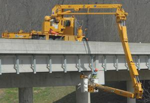 Immediately after the Minnesota bridge collapse, the Federal Highway Administration  urged infrastructure managers to reinspect each of the nation's 756 steel  arch truss bridges. Here, the Missouri DOT uses the Snooper bridge inspection  truck, made by Omaha, Neb.-based Paxton-Mitchell Co., to check the  conditions of the state's 11 such bridges. Photo: MoDOT