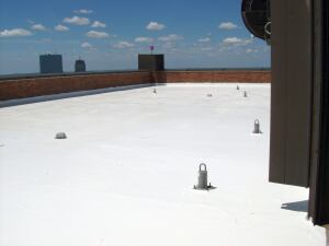 Light- and white-colored roof coatings consist of a polymeric binder blended with pigments and other additives to protect roof membranes for longer roof life cycles and to reflect solar radiation for lower air-conditioning costs.