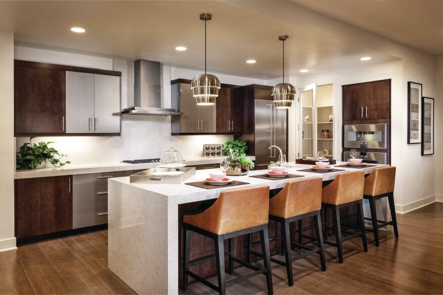 "Hub of the House KTGY's work on KB Home's Skylar at Playa Vista in Los Angeles features ""super kitchens"" that cater to entertaining, dining, and conversation."