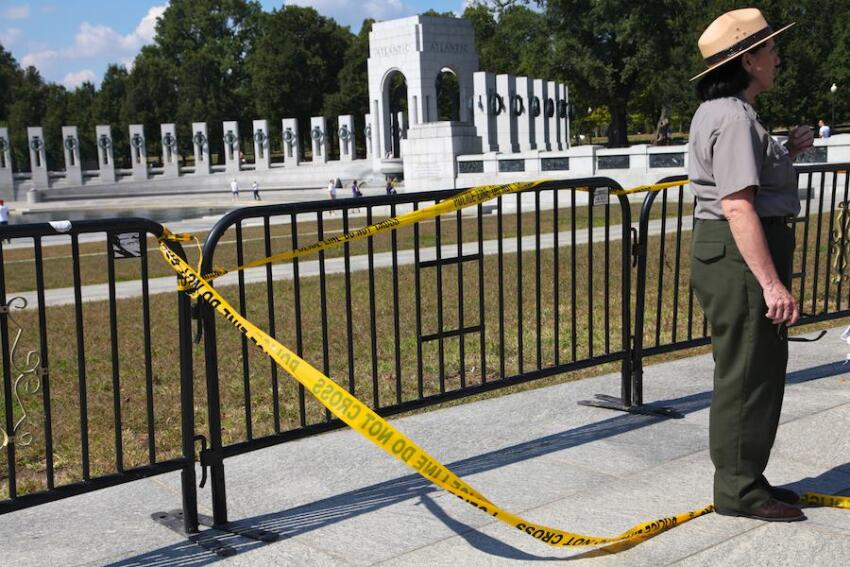 The World War II Memorial on the National Mall is closed as part of the federal government shutdown.