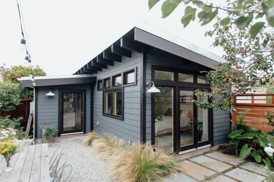 This Oakland, Calif., backyard addition has exposed roof joists.