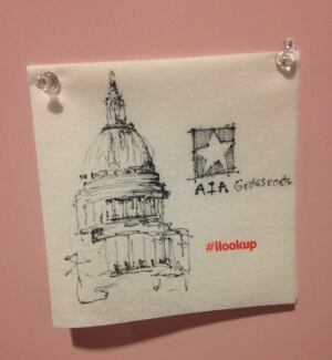 A napkin doodle drawn by an AIA attendee as part of the conference's I Look Up campaign.