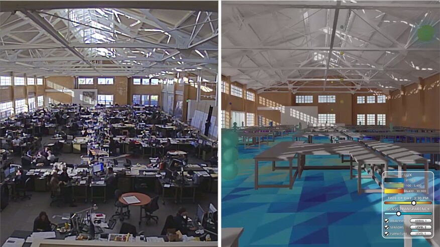 Using sun-path data, building location, and modeling software, KieranTimberlake created a visualization of how sunlight would move through and illuminate an interior space.