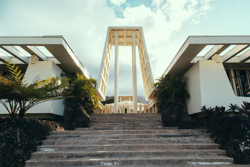 "Chapel, Valley of the Temples, in Kaneohe, Oahu, designed by George ""Pete"" Wimberley"